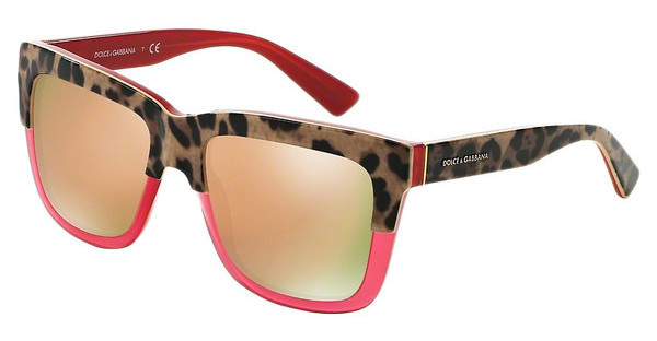 Dolce & Gabbana DG4262 29495R DARK GREY MIRROR PINKPRINT LEO ON OPAL RASPBERRY